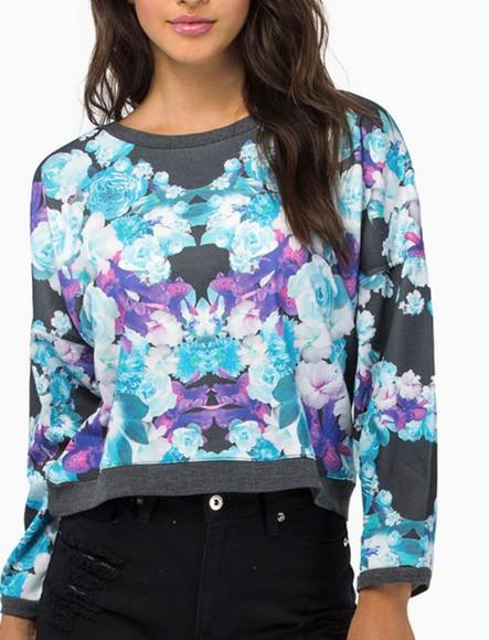 sweater top jumper floral print shirt