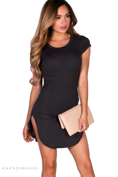 Black Ribbed Jersey Short Sleeve Bodycon Casual Tunic Dress