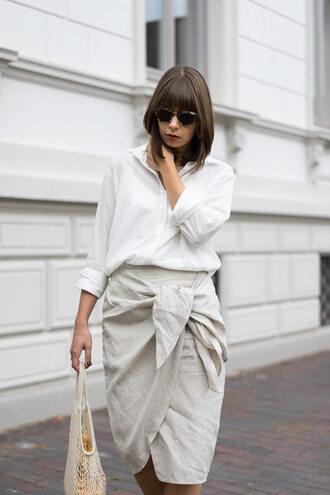 shirt skirt tumblr white shirt wrap skirt midi skirt nude skirt work outfits office outfits