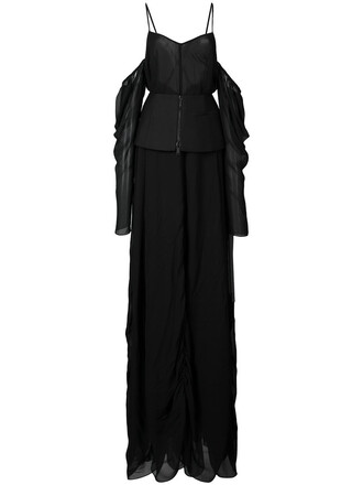 gown off the shoulder women draped black silk dress