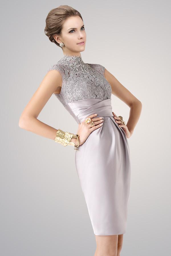 high neck, lace dress, satin, knee length sheath dress, elegant ...