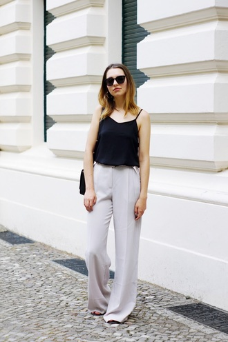 cruel thing blogger pants shoes sunglasses bag white pants grey pants black top tank top wide-leg pants high waisted pants nude pants black sunglasses spaghetti strap spring outfits casual friday