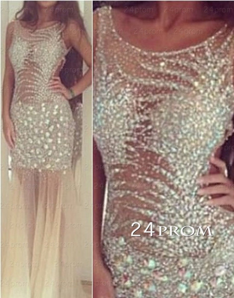 Backless tulle sequin long prom dresses, evening dresses