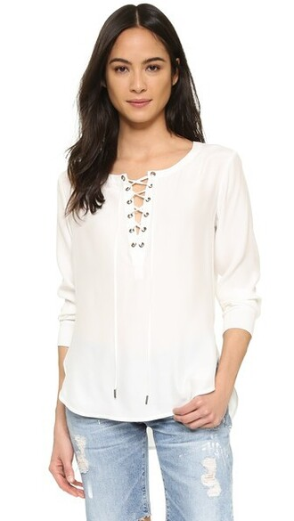 blouse soft lace white silk top
