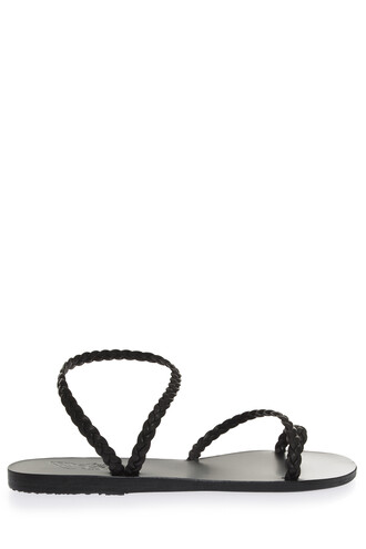 women braided sandals black shoes