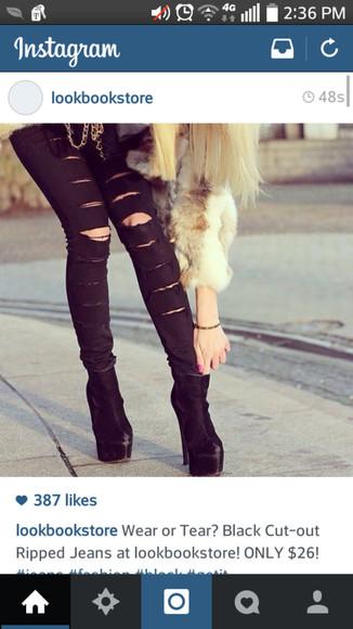shoes platform shoes ankle boots black jeans cut offs ripped jeans black jeans lookbookstore instagram blonde hair black shoes skinny jeans