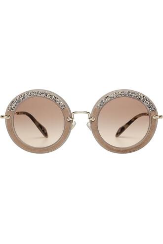 noir embellished sunglasses round sunglasses suede grey