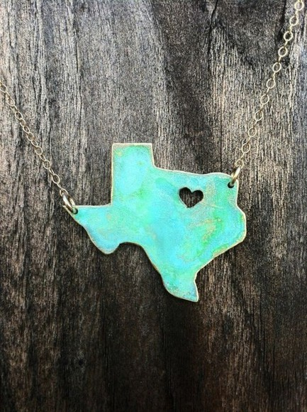texas jewels necklace gold state heart