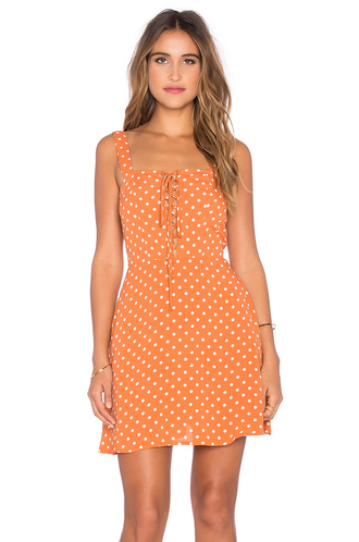 dress lace up dress polka dots coachella polka dot dress revolve lace up festival