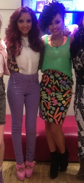 skirt,little mix,leigh-anne pinnock,leigh anne,jade,color/pattern,pink,green,jade thirlwall,shirt,shoes,jeans,pants,suspenders