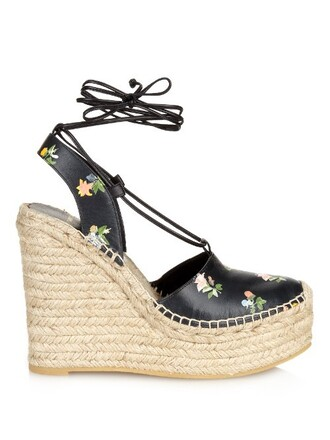 sandals wedge sandals floral black shoes