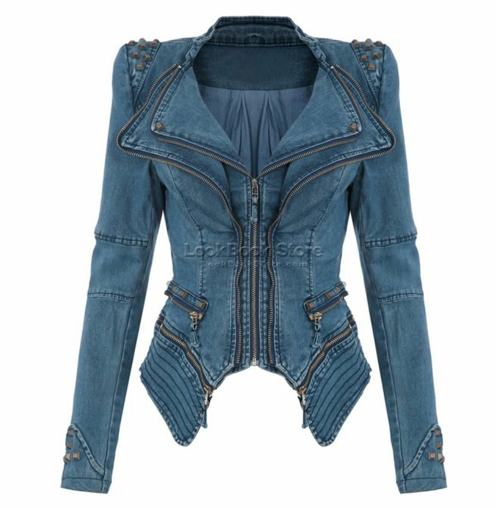 Denim rivets jacket blue