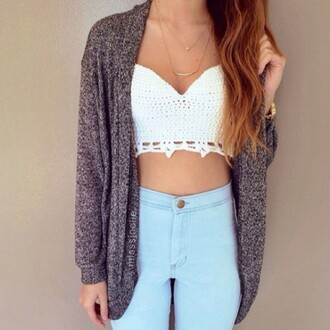 tank top lace top crochet top sexy top summer top grey cardigan light blue jeans shirts