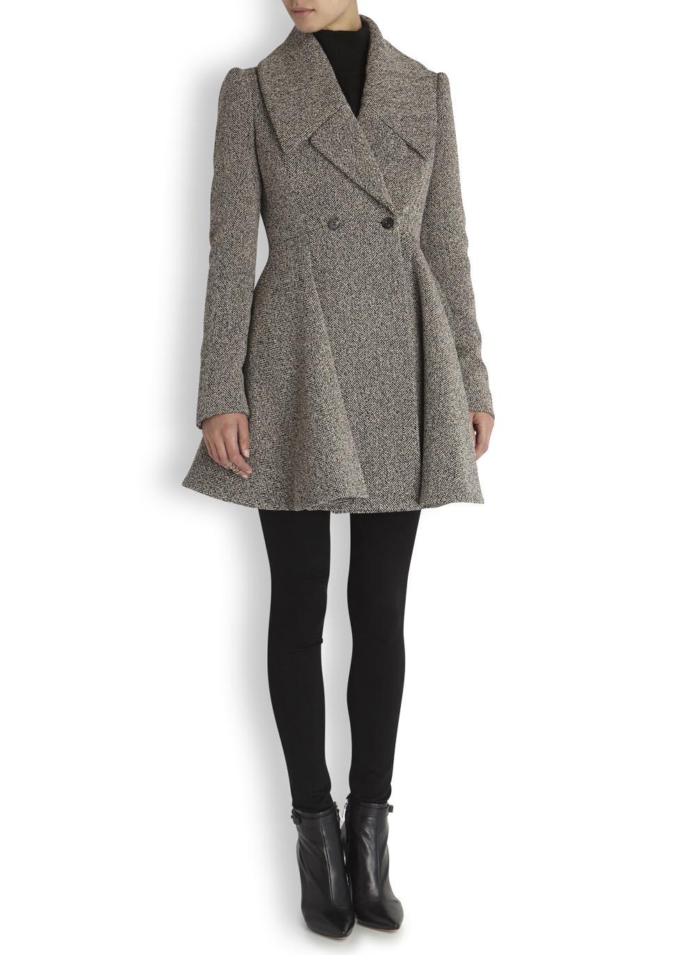 Alexander mcqueen grey herringbone wool blend coat