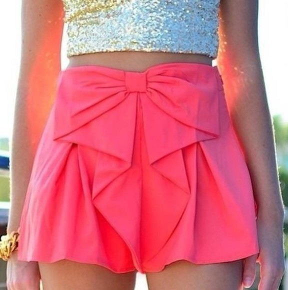 cute girly pink fashion shorts bow short pink shorts pink bow shorts glitter
