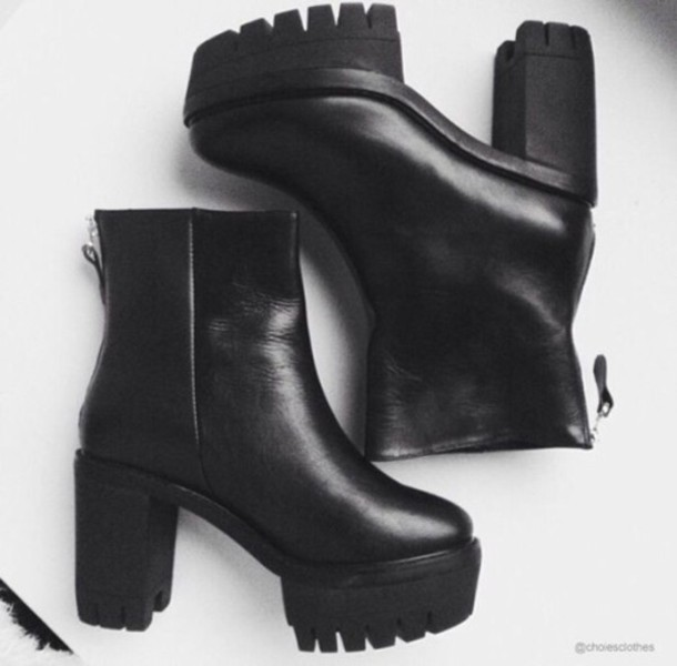 shoes booties platform shoes boots black boots black leather platform shoes heels