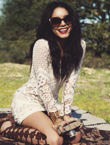 dress vanessa hudgens white dress lace dress