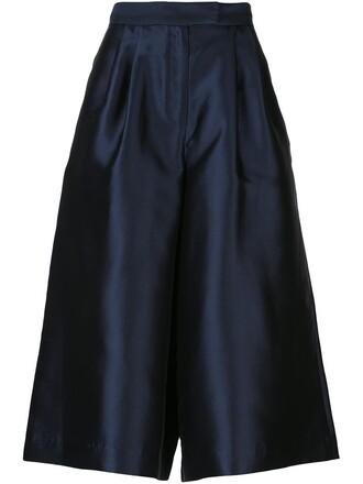 culottes cropped women cotton blue silk pants