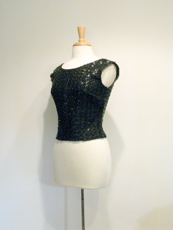 1950s Blouse / Vintage Black Sequin Fitted by tobedetermined