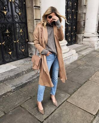 coat camel coat tumblr camel fall outfits sweater grey sweater denim jeans blue jeans shoes pointed toe bag nude bag sunglasses