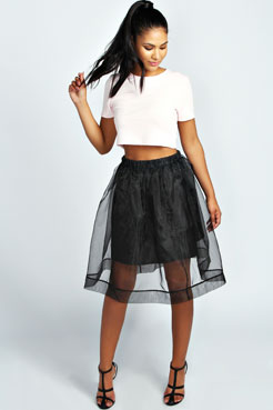 Evelyn Full Organza Knee Length Skirt at boohoo.com