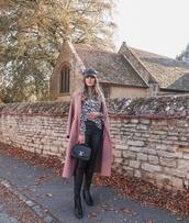 coat,wool coat,long coat,pink coat,skinny pants,leather pants,ankle boots,leopard print,handbag,cap