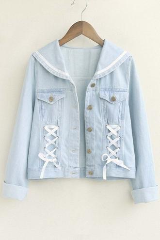 jacket denim lace up blue cute fashion style trendy light blue beautifulhalo