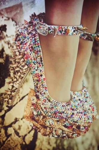 shoes heels high heels diamonds diamond shoes cute high heels platform high heels sequin heels studded shoes studded heels dream shoes girly girly heels