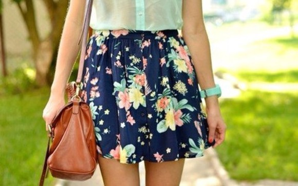 skirt blue skirt flowers