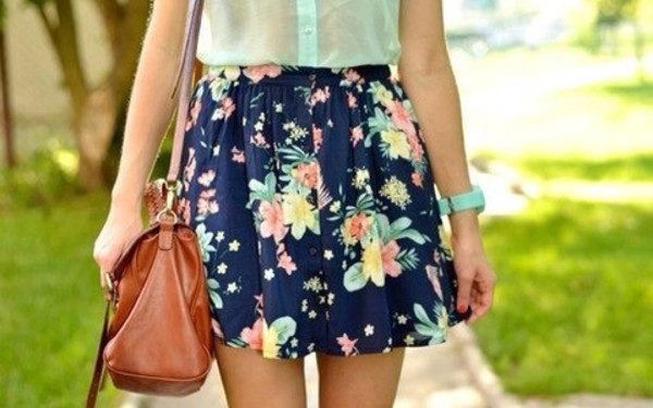 skirt flowers blue skirt