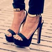 shoes,ankle strap,platform shoes,black shoes,classy,gold metal