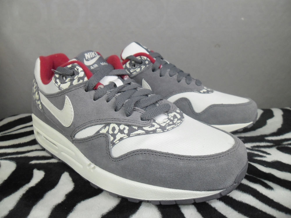NIKE WMS AIR MAX 1 GREY LEOPARD US6.5 cheetah supreme bhm atmos safari patta | eBay