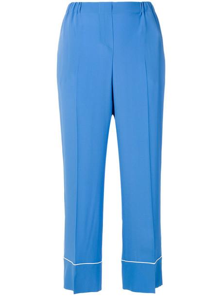 No21 cropped high women blue silk pants