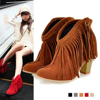Spring and autumn 2014 women round toe thick high heel nubuck leather boots shoes-inBoots from Shoes on Aliexpress.com