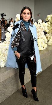 pants,olivia palermo,leather pants,coat,blogger,blogger style,ankle boots,turtleneck