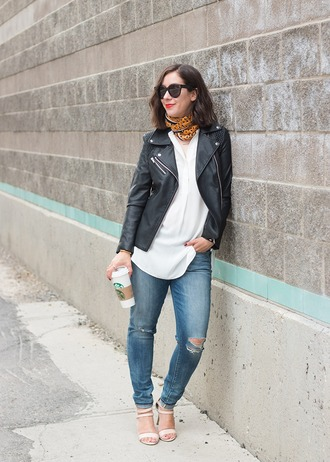 adventures in fashion blogger leather jacket printed scarf sandals