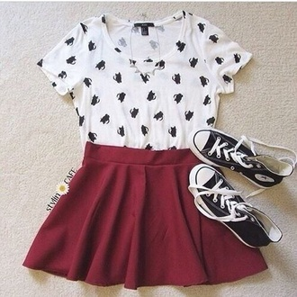 shirt kitten top white shoes skirt camila cabello top t-shirt skater skirt style cat top cats cardigan ootd girl girly socute converse white t-shirt chuck taylor all stars jewels burgundy skirt crop tops grunge t-shirt cat shirt cat tee cute top hipster red blouse black n white dress red short skirt