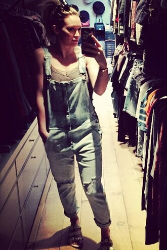 jeans overalls hilary duff instagram