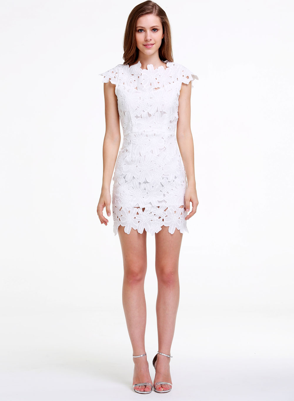 White Short Sleeve Floral Crochet Bodycon Dress - Sheinside.com