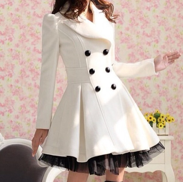 dress white black buttons