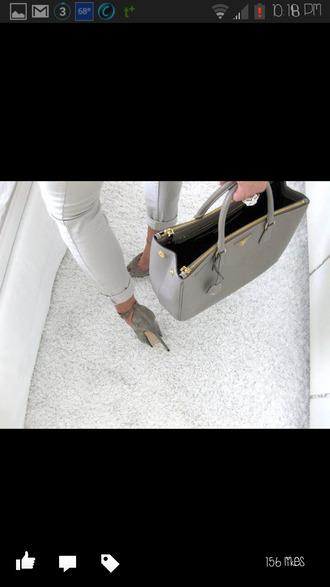 bag purse tote bag shoulder bag grey gold gold trim big purse