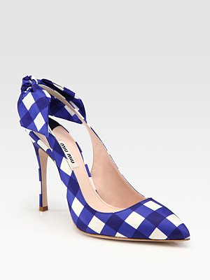 Miu Miu - Taffeta Point Toe Bow Pumps - Saks.com