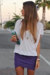 skirt,mini skirt,pinterest,purple,shirt,white t-shirt,t-shirt,purple skirt,blue skirt,white,summer,sun,classy,jewels,puple,blouse,bag