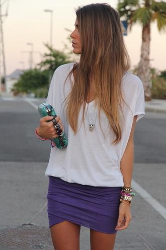 skirt mini skirt pinterest purple shirt white t-shirt t-shirt purple skirt blue skirt white summer sun classy jewels puple blouse bag
