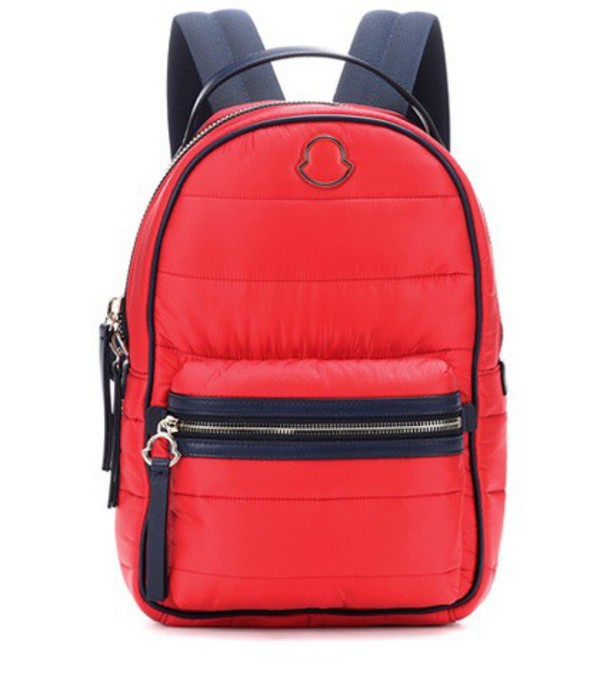 Moncler Georgette leather-trimmed backpack in red