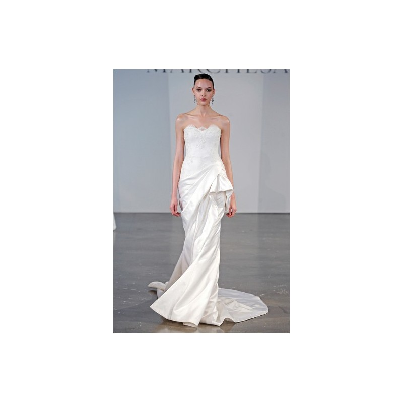 Marchesa SP14 Dress 5 - Sweetheart White Spring 2014 Full Length Fit and Flare Marchesa - Rolierosie One Wedding Store