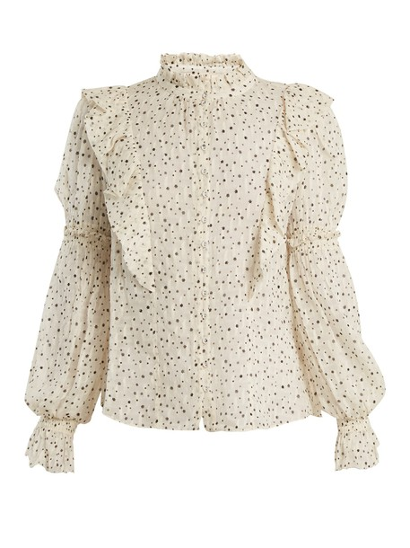 Rebecca Taylor blouse print silk cream top