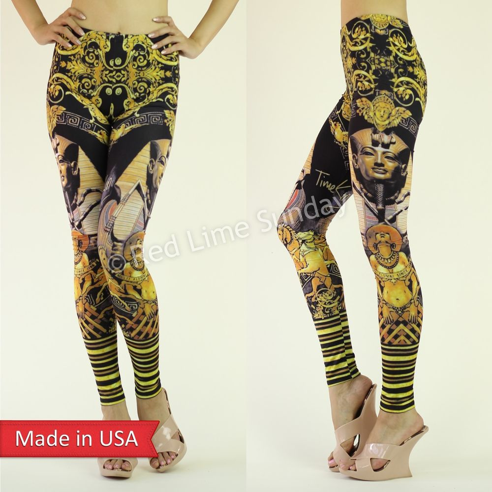 Gold King Tut Pharaoh Egyptian Tribal Ancient Art Trend Leggings Tights Pants US