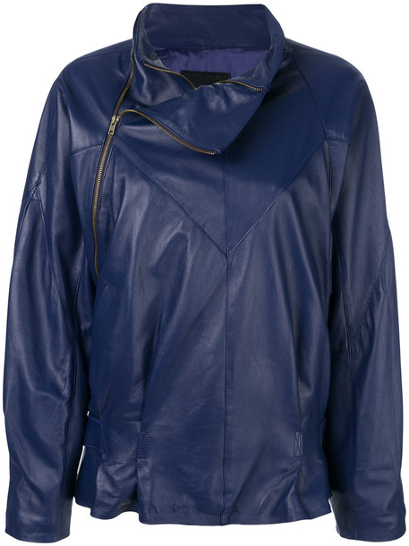 jacket women leather blue