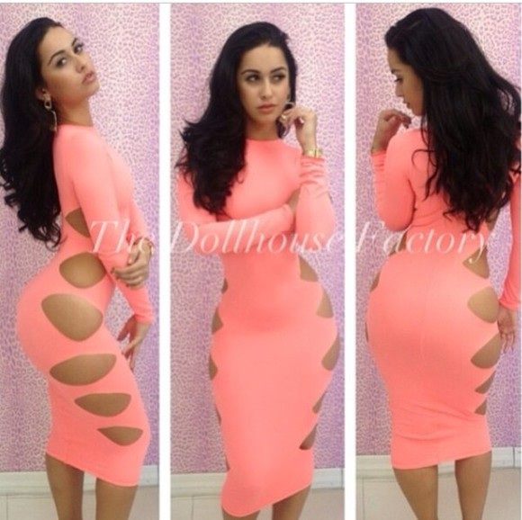 dress cut out dress peach